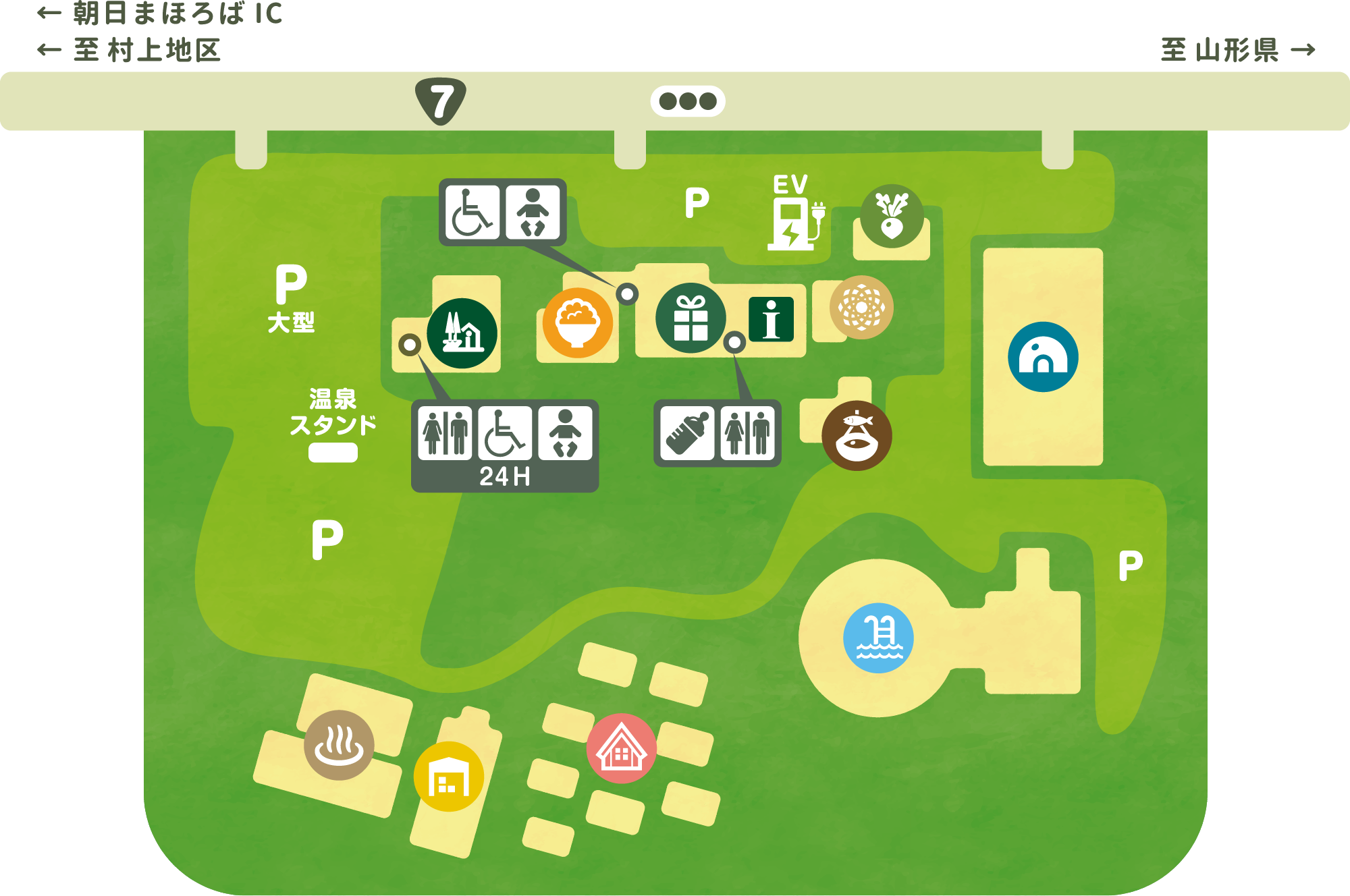 朝日みどりの里 敷地内マップ